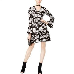 INC Bell Sleeve Floral Fit and Flare Knit Dress
